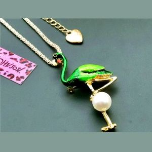 New Betsey Johnson green flamingo necklace